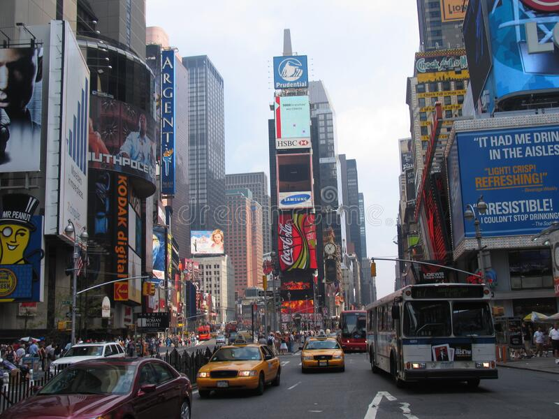 Times Square street. NEW YORK, USA - August 2005: travel view of Times Square featuring street. The image location is New York in America stock photos