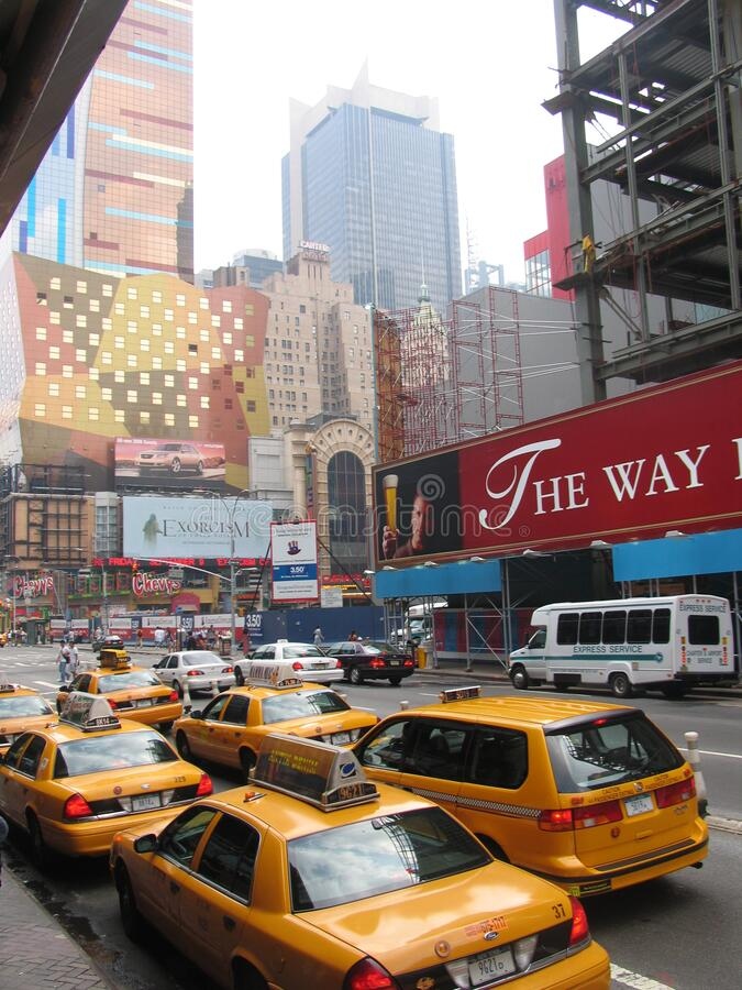 Times Square theatre district. NEW YORK, USA - August 2005: travel view of Times Square featuring theatre district. The image location is New York in America royalty free stock photo