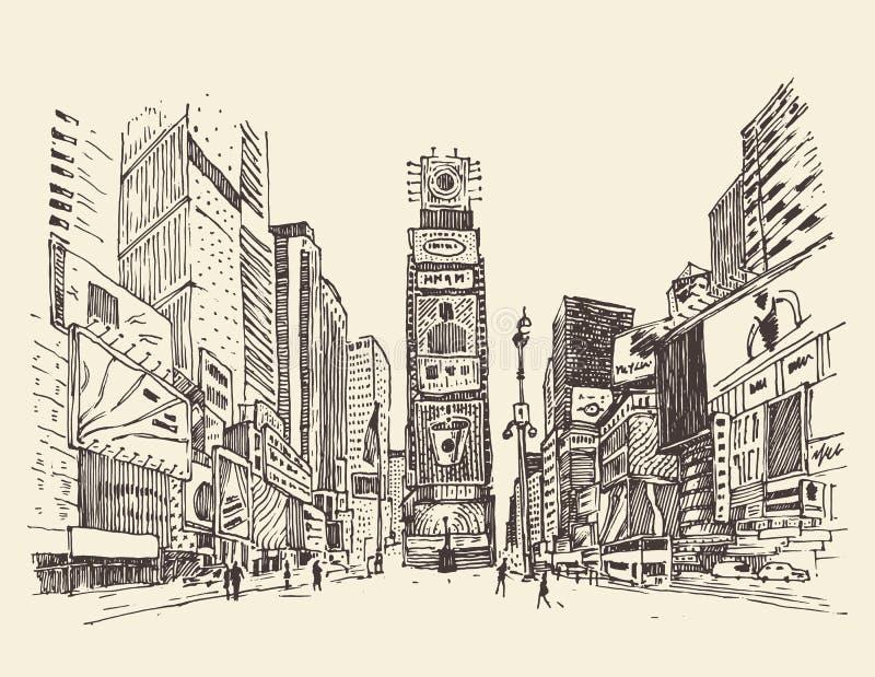 Times Square, ulica w Nowy Jork miasta rytownictwa ilustraci ilustracji