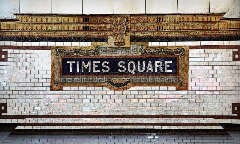 Times Square-Fliesen-Mosaik-Untergrundbahn-Zeichen stockbilder