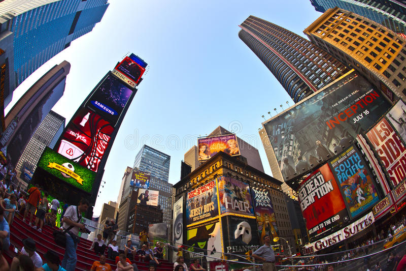 Times Squares is a symbol of New. NEW YORK CITY - JUL 8: Times Square, featured with Broadway Theaters and huge number of LED signs, is a symbol of New York City stock image