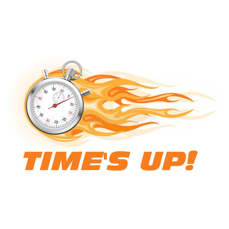 Times up, hurry up - burning stopwatch icon stock illustration