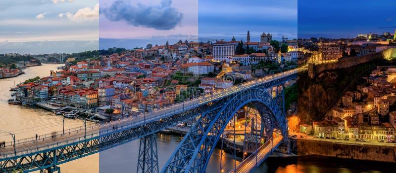 Timeslice panoramico di tramonto di paesaggio urbano di Oporto Portogallo con il ponte di Dom Luis I ed il fiume del Duero fotografie stock libere da diritti