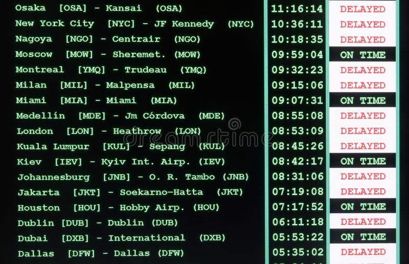 timetable of the airport with all international flights delayed royalty free stock images