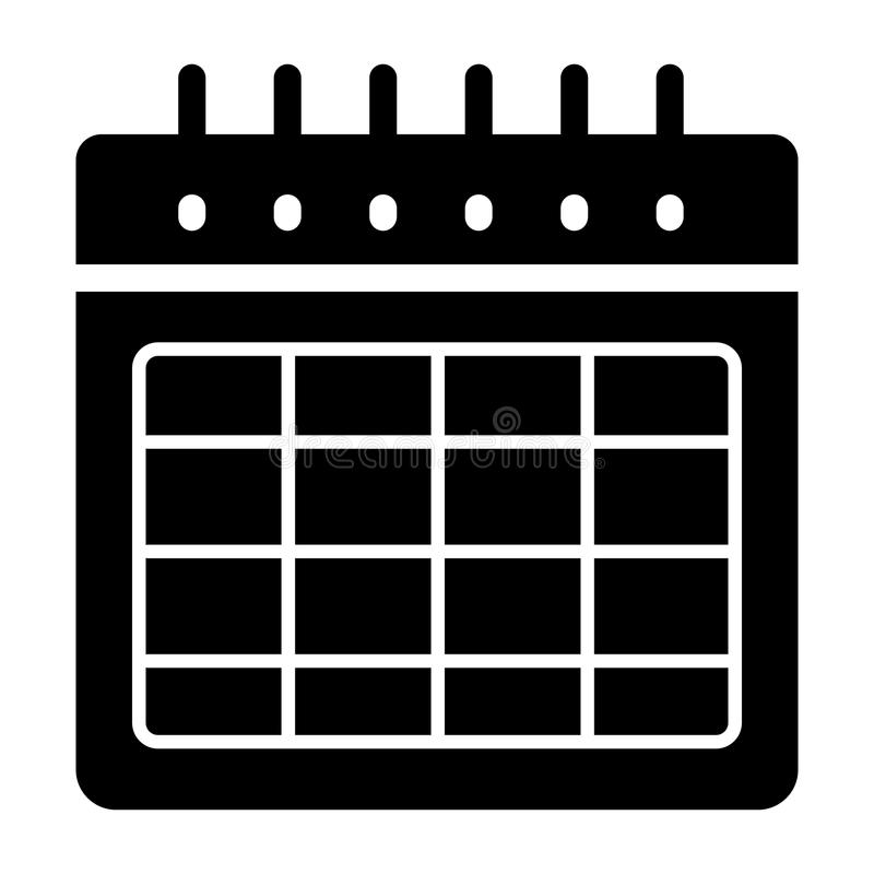 Blank Calendar Day Icon : Timetable blank vector icon black and white illustration