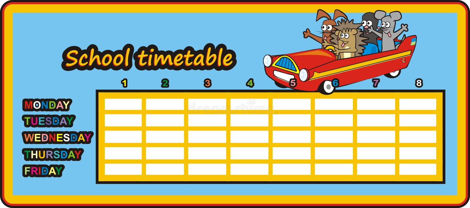 Download Timetable - car in the car stock vector. Illustration of monday - 37483983