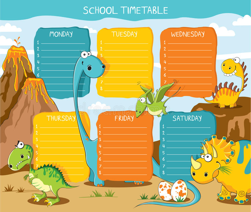 Timetable dinosaurs. School timetable with funny dinosaurs