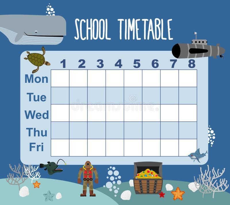 timetable Programação da escola no mundo subaquático Dias da semana SK ilustração do vetor