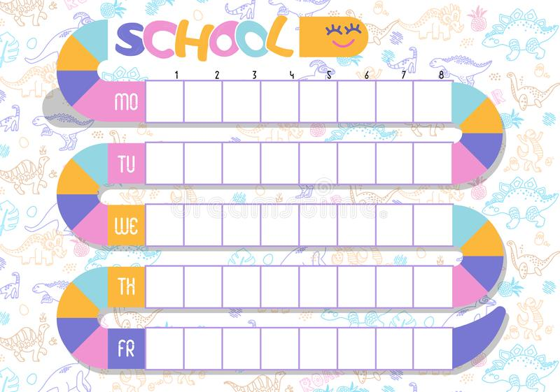 The timetable is the schedule of lessons in the school. Template school planner. Schedule of lessons in the school. Funny cartoon stock illustration
