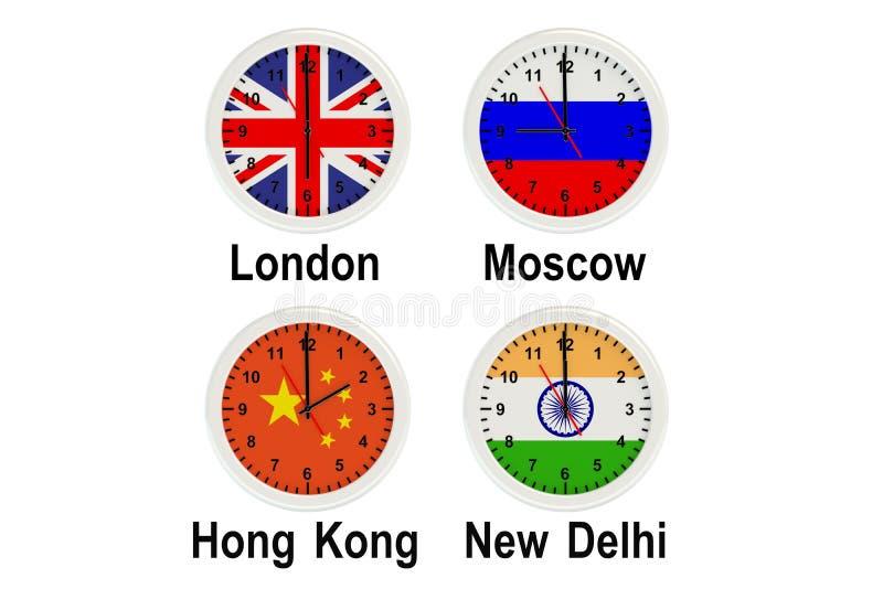 Timezone ścienni zegary royalty ilustracja