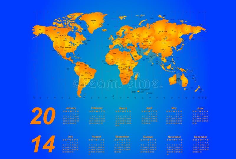 Timezone calendar 2014. Timezone map - vector color calendar 2014 vector illustration