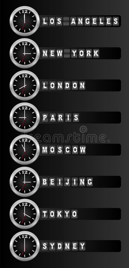 Timezone clock. Clocks showing the time around the world / Vector royalty free illustration