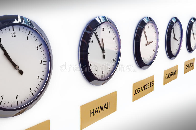 Timezone clocks. Clocks showing different times of world locations vector illustration