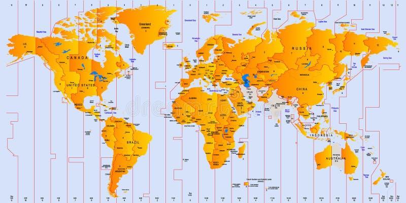 Timezone mapa ilustracji