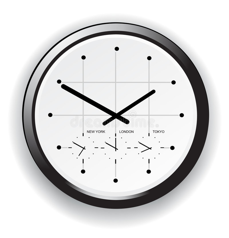 Timezoneuhr stock abbildung
