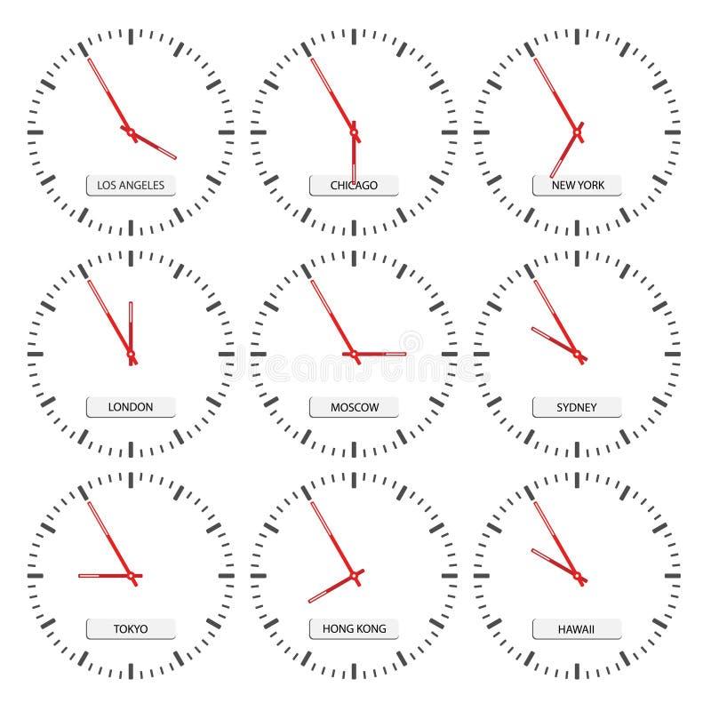 timezones för klockaframsidor royaltyfri illustrationer