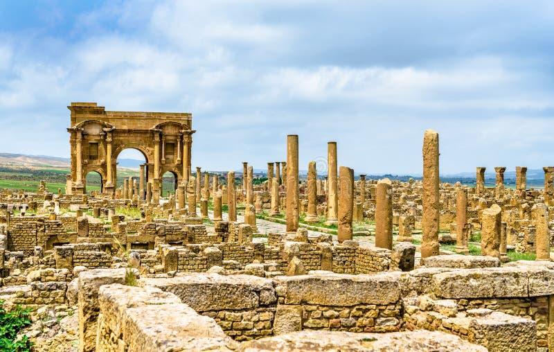 Timgad,一个罗马巴巴里人城市的废墟在阿尔及利亚 免版税库存图片