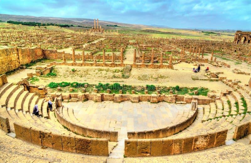 Timgad,一个罗马巴巴里人城市的废墟在阿尔及利亚 免版税库存照片