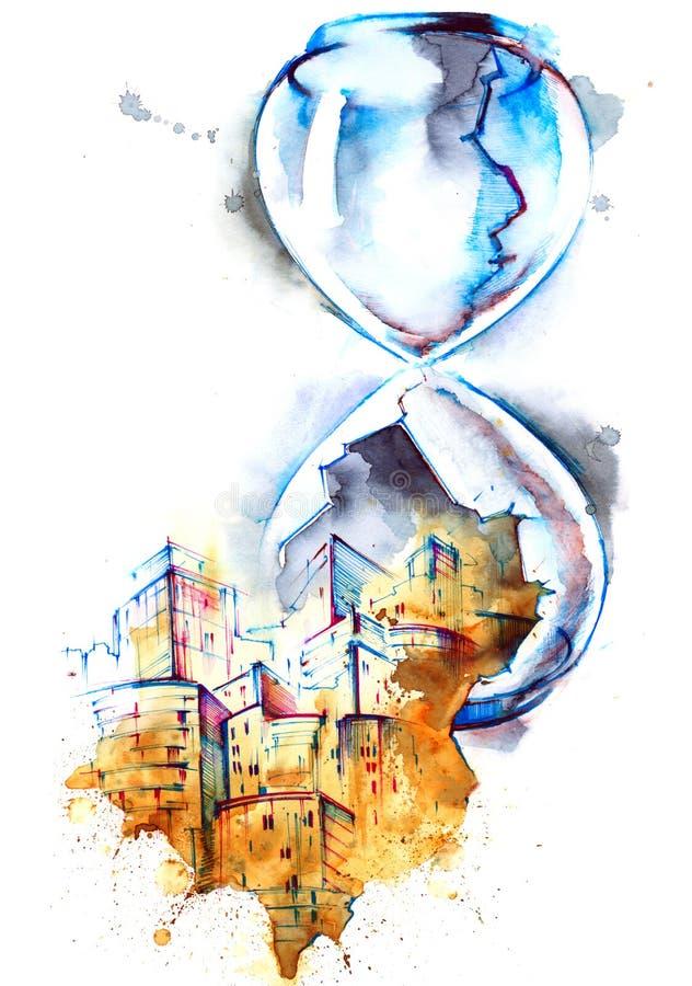 timglas stock illustrationer