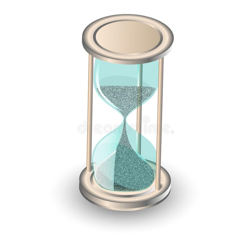 Timglas-antika instrument som tidsövertagande koncept för tidsgräns, brådska och tidsbrist royaltyfri illustrationer