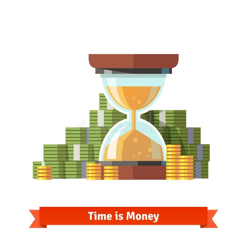 Timglas i en hög av den staplade dollaren och myntet royaltyfri illustrationer