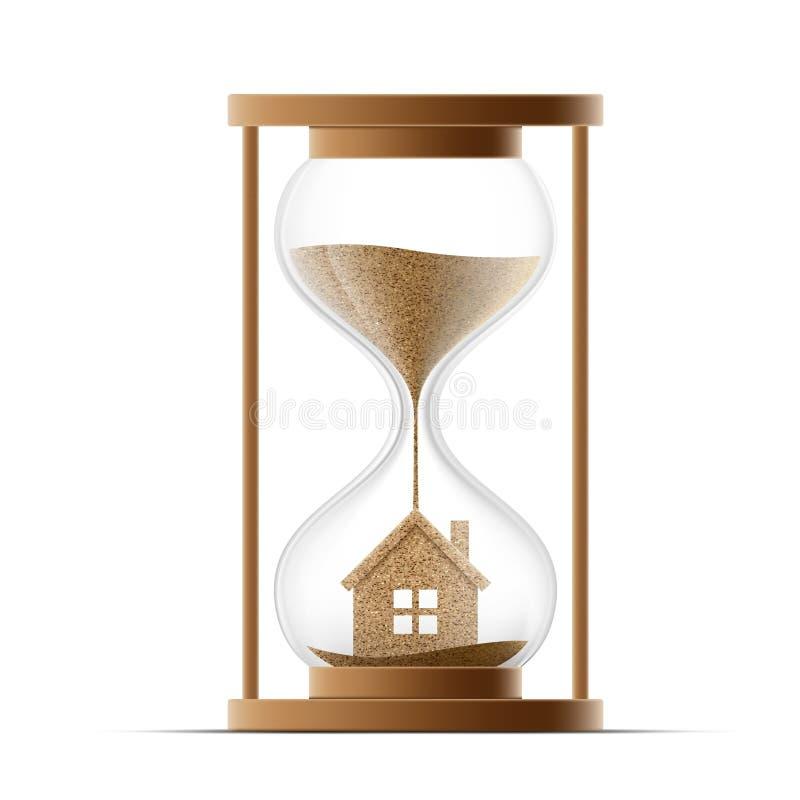 Timglas med huset verkligt konstruktionsgods egenskap stock illustrationer