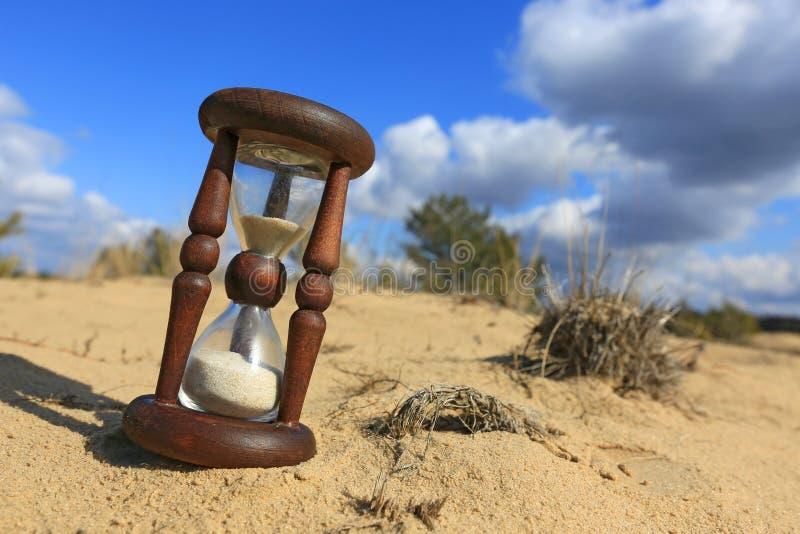 Timglas på sand royaltyfria foton