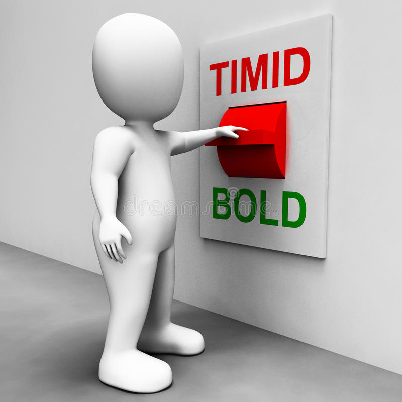 Timid Bold Switch Means Fear Or Courage stock illustration