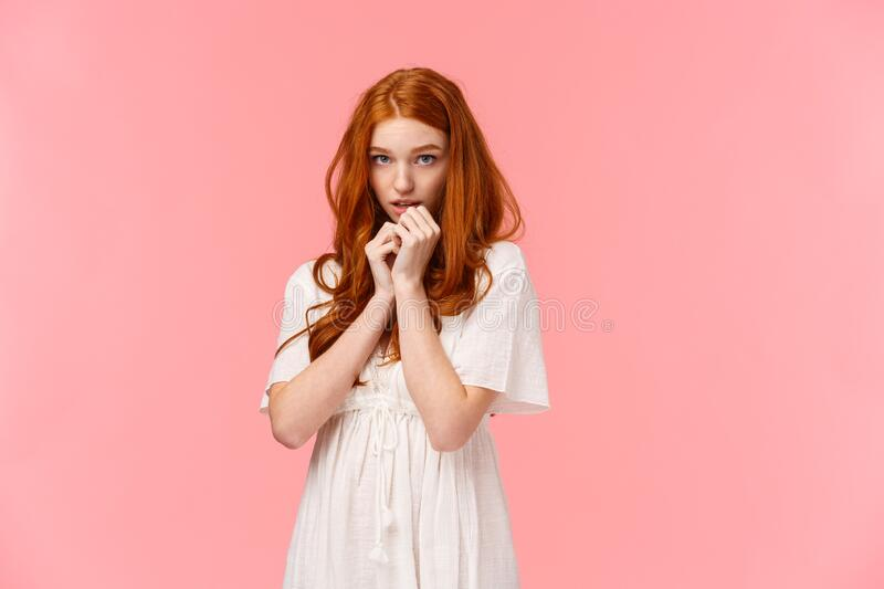 Timid Kawaii, Redhead European Girl In White Dress, Looking Shy And Cute, Blushing, Looking From Under Forehead Stock Image - Image of face, hair: 169341495