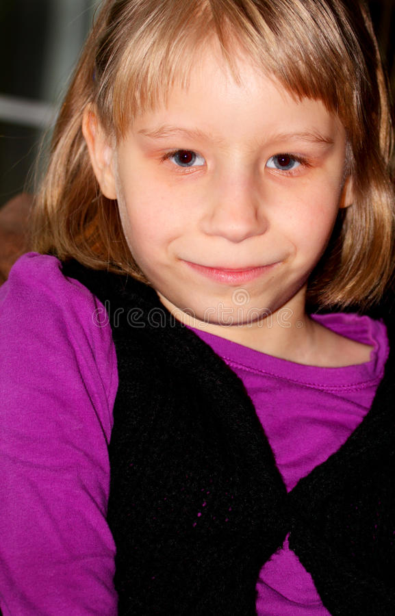Timid Little 8 year old girl stock images