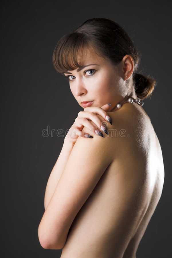 Timidity girl. Portrait of young beauty timidity girl royalty free stock photos