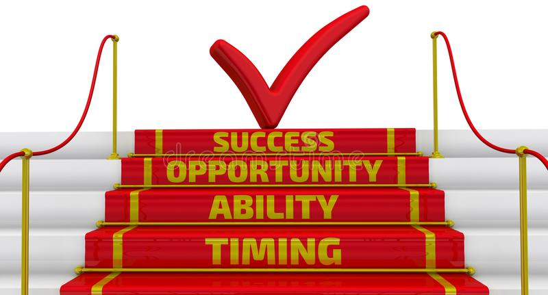 Timing, ability, opportunity, success. The inscription on the steps. Business strategy: timing, abiblity, opportunity, success. Stairs with a red carpet and vector illustration