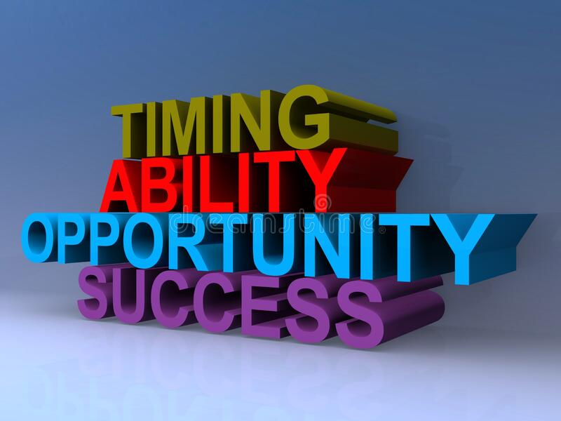 Timing ability opportunity success. On blue vector illustration