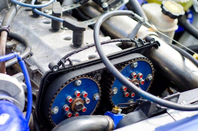 Timing belt and camshaft sprocket in engine royalty free stock image