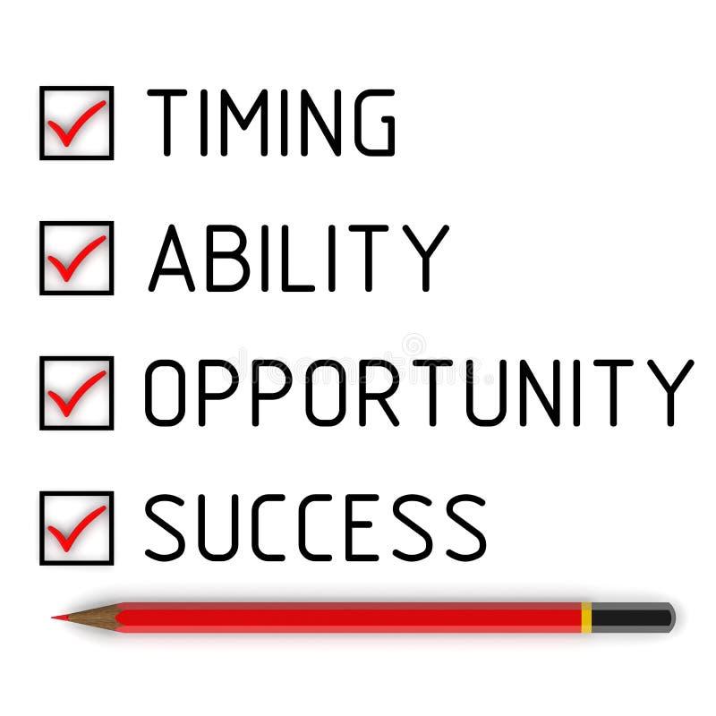 Timing, capaciteit, kans, succes Lijst met de tekens royalty-vrije illustratie