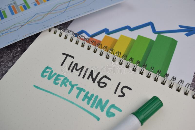 Timing Is Everything text on a book. Chart or mechanism concept stock photo