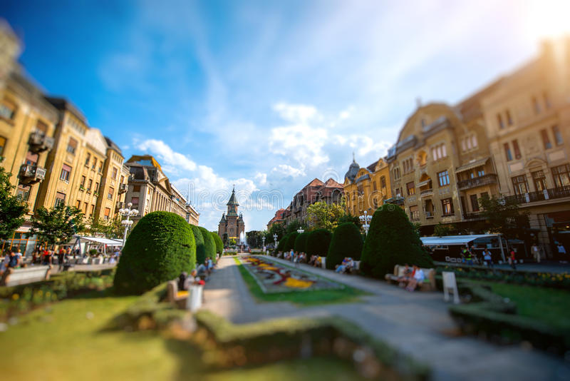 Timisoara. Beautiful view on Victory square with orthodox church in Timisoara city on suset, Romania stock photography