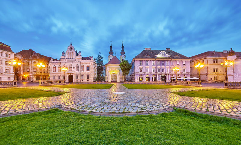 Timisoara. City in Romania at Night. Central Square royalty free stock images