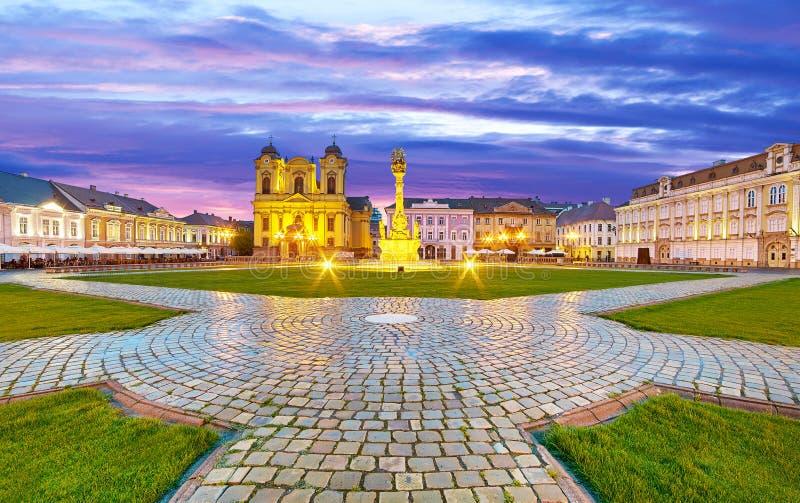 Timisoara. City in Romania at Night. Central Square stock image