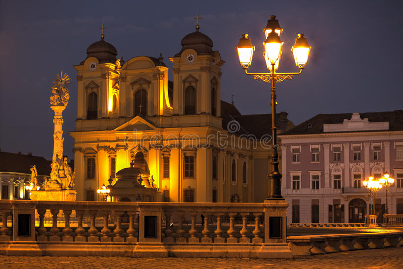 Timisoara city, Romania. Union square or Unirii Square seen at dawn, Timisoara, Romania royalty free stock image