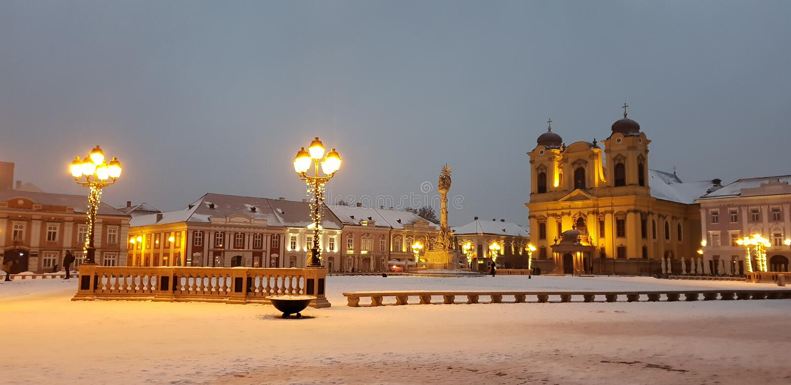 Timisoara covered in snow in winter time Union square unirii. Timisoara covered snow winter time union square stock images