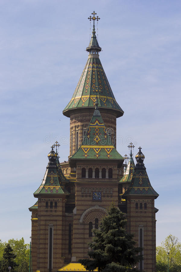 Timisoara. Front view of Metropolitan Cathedral in Timisoara royalty free stock image