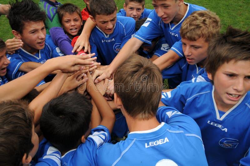 Timisoara - granicar youth soccer game. KAPOSVAR, HUNGARY - JULY 24: Croatian players before the VI. Youth Football Festival Under 14 Final Banatul Timisoara ( royalty free stock images