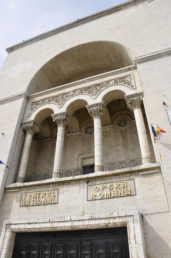 Timisoara, il 22 giugno: Balcone della costruzione di opera da Victory Square nella città di Timisoara dalla contea di Banat in R fotografia stock