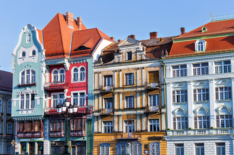 Timisoara old architecture. Beautiful old town center houses in the romanian western city Timisoara ( the European cultural capital in 2021 stock image