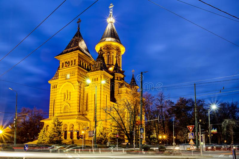 Timisoara Orthodox Cathedral, Romania. The Romanian Orthodox Metropolitan Cathedral of Timisoara seen at the blue hour from the streets. Timis County, Romania stock images