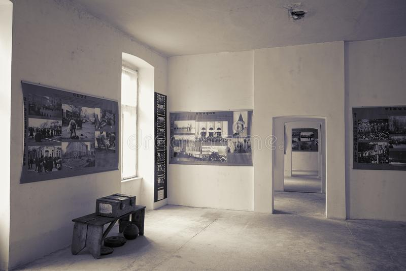 Timisoara Revolution Museum, Romania. TIMISOARA, ROMANIA - JULY 29, 2015: 1989 Timisoara Revolution Museum include documentation, posters and photography from stock image