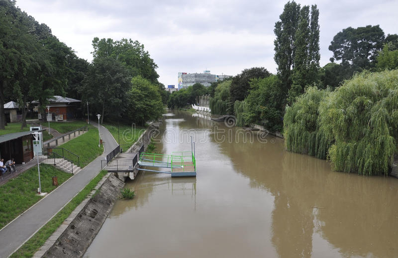 Timisoara RO, June 21th: Bega River in Timisoara town from Banat county in Romania. Bega River in Timisoara town from Banat county in Romania on june 21th 2016 royalty free stock photography