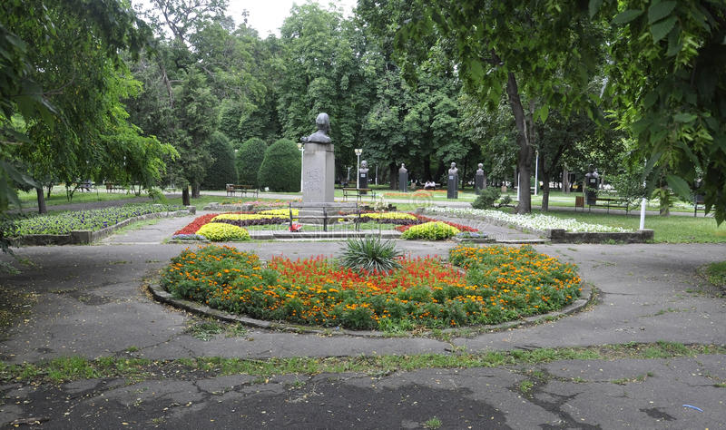 Timisoara RO, June 22th: Central Park Statues in Timisoara town from Banat county in Romania royalty free stock photos