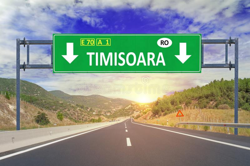 Timisoara road sign on highway. Close stock photography